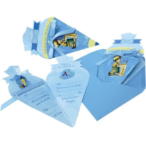 Roth Einladungskarte Schultüte blau, 4er Blister