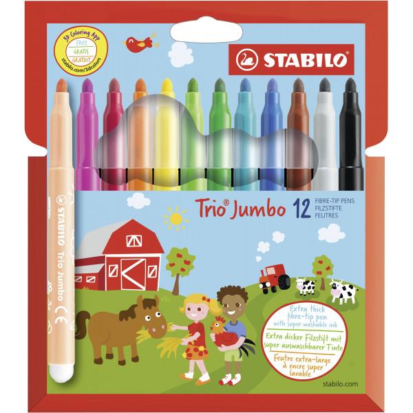 Stabilo Filzstift STABILO® Trio® Jumbo, 3,0 mm (XXL), Kartonetui mit 12 Stiften