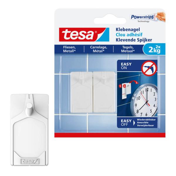 tesa Klebenagel 77762 für Fliesen und Metall max 2kg weiß 2 Stück