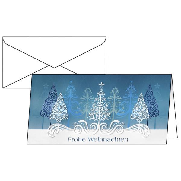 Sigel Weihnachtskarten Blue Trees Din Lang 10 Stück inkl. weißen Umschlägen DS030