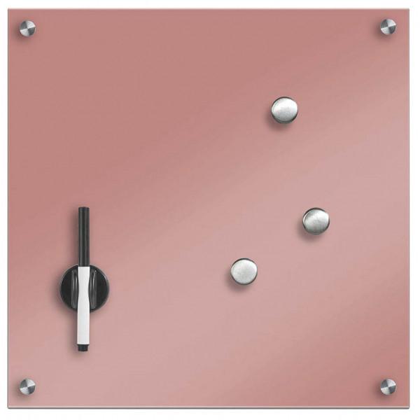 Zeller Glas-Magnettafel 40,0 cm x 40,0 cm rosé 11674