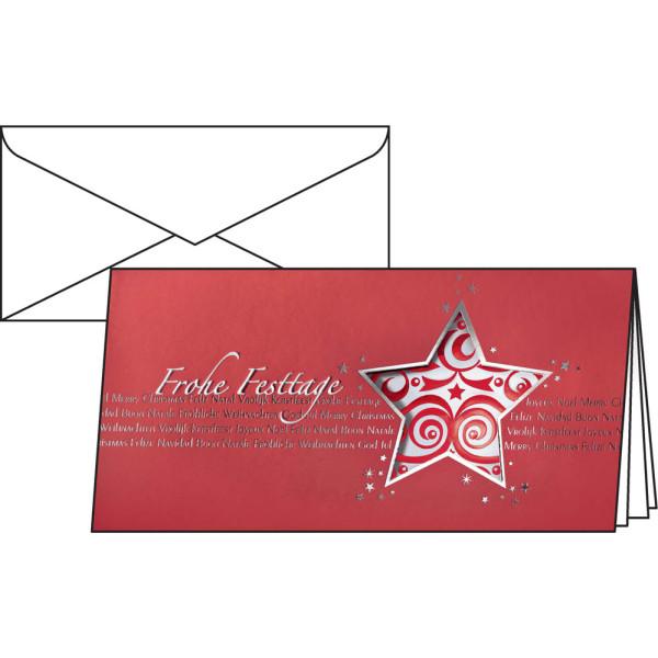 sigel Weihnachtskarten Red Star Din Lang 10 Stück inkl. weißen Umschlägen DS048