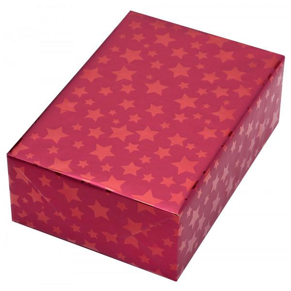 Geschenkpapier Diadem Sterne rot 50cm x 20m