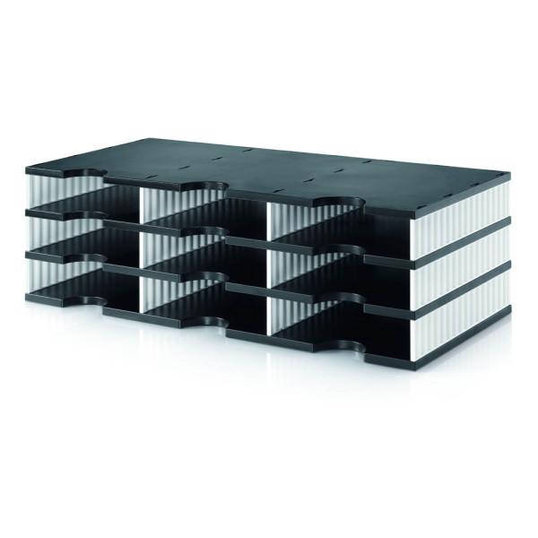 styro Sortierstation doc trio black & white schwarz/weiß mit 3 Fächern 268-0303.09