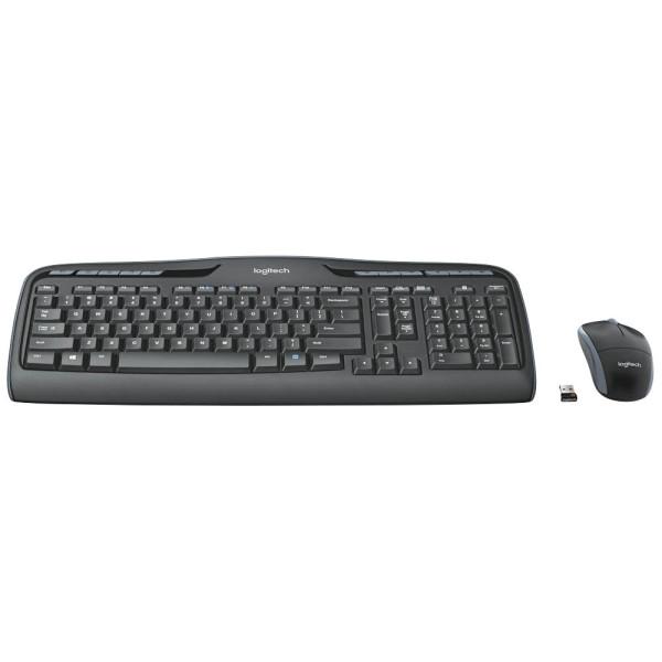 Logitech Tastatur-Maus-Set Wireless Combo MK330 920-008533, kabellos (USB-Funk), Sondertasten, Unifying-Empfänger, schwarz