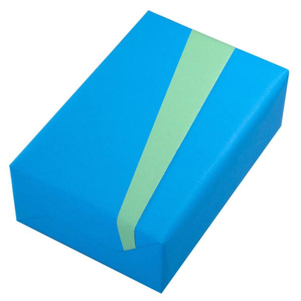 Geschenkpapier Vollton beidseitig bedruckt meerblau/jade 50cm x 20m