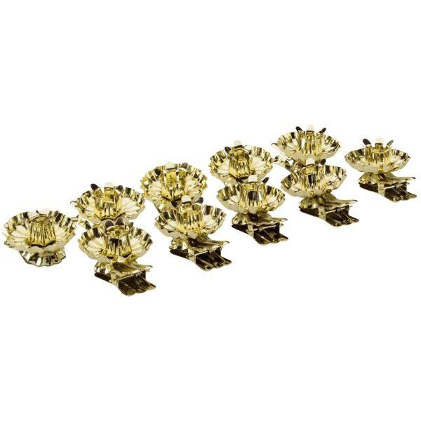 Riffelmacher Christbaumkerzenhalter-Klipp gold Ř 15mm 10 Stück