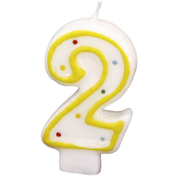 amscan Geburtstagskerze Zahl 2 gelb