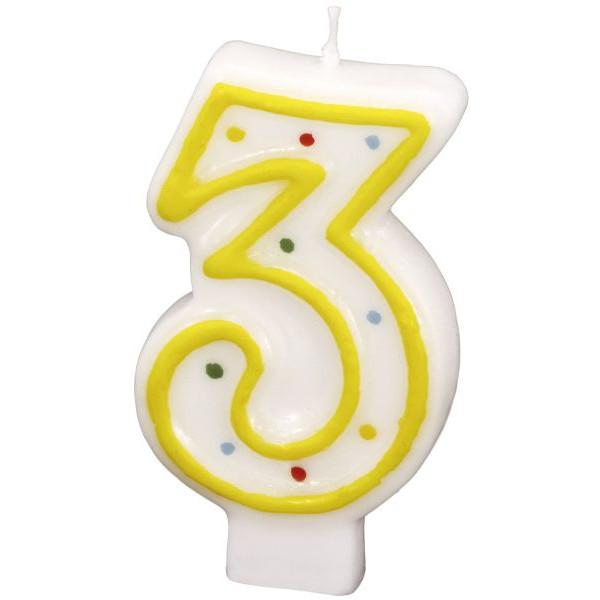 amscan Geburtstagskerze Zahl 3 gelb
