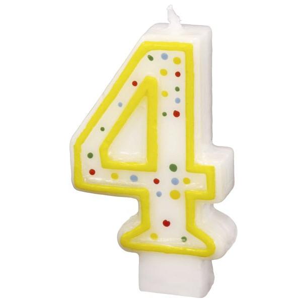 amscan Geburtstagskerze Zahl 4 gelb