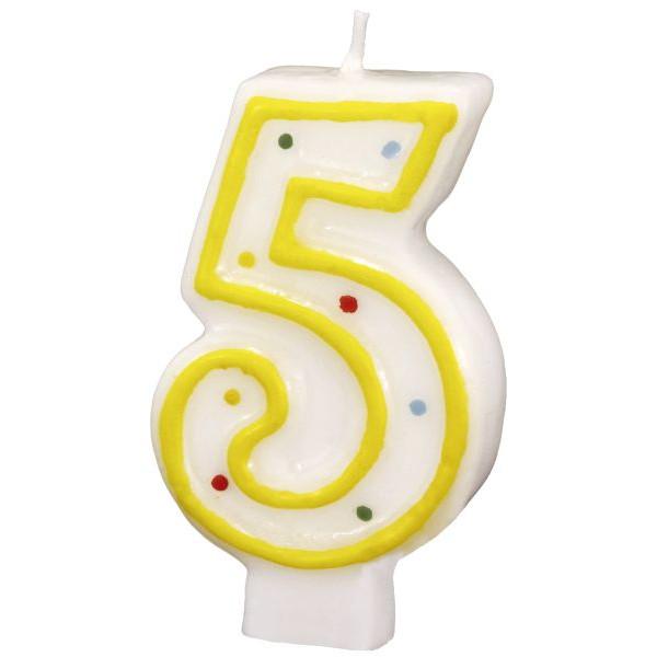 amscan Geburtstagskerze Zahl 5 gelb