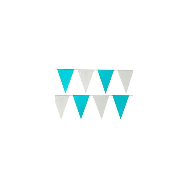 14417 Wimpelkette türkis-grünlich-weiß Flaggen 10m