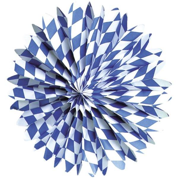 amscan Girlande Partyfächer 4130 Bayern Raute Ø 50cm weiß/blau