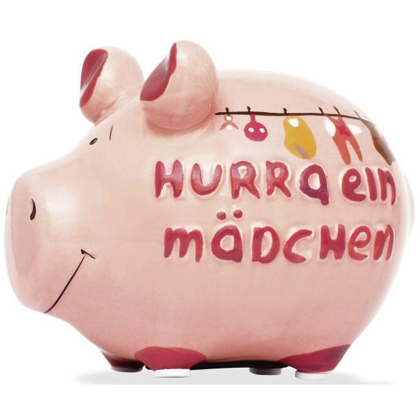 KCG 100929 Hurra ein Mädchen Spardose Schwein klein