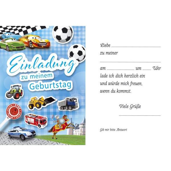 51-3830 Jungs Bild Einladungskarte Kindergeburtstag 5ST