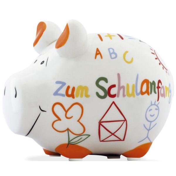 """KCG Spardose Schwein """"Zum Schulanfang"""" weiß klein"""