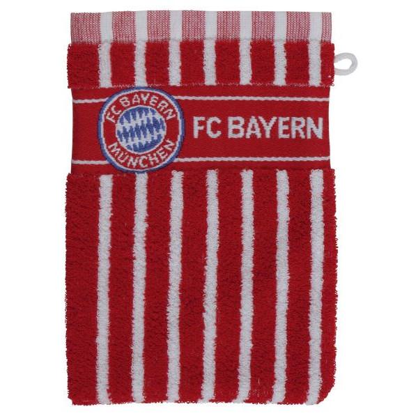 FC Bayern Waschhandschuh mit Logo rot/weiß 21.5x16cm