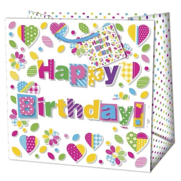 Geschenktragetasche Geburtstag bunt - 20 x 20 x 9 cm