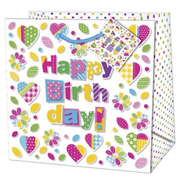 Geschenktragetasche Geburtstag bunt - 30 x 30 x 13 cm