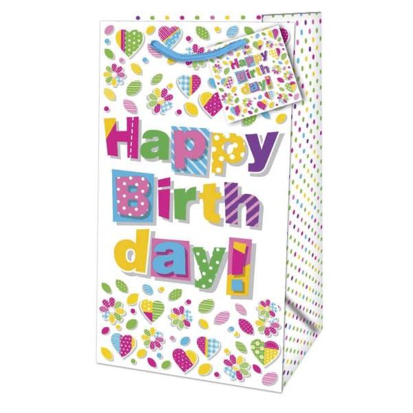 Geschenktragetasche Geburtstag bunt - 11 x 21 x 6,5 cm