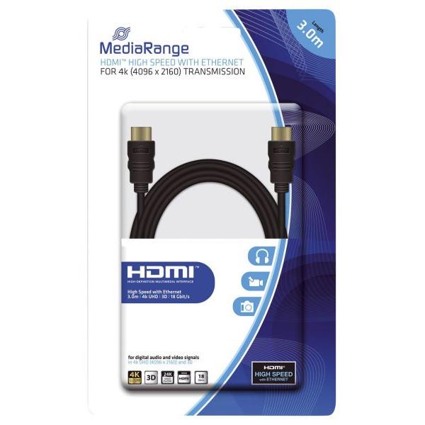 MediaRange HDMI-Kabel High Speed - 4K, mit Ethernet, vergoldete Kontakte, 18 Gbit/s Datenübertragungsrate, 3 m, schwarz