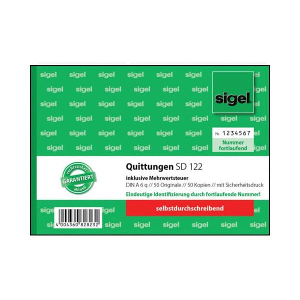 Sigel Quittung inkl. MwSt. mit Sicherheitsdruck - A6 quer, SD, 2 x 50 Blatt