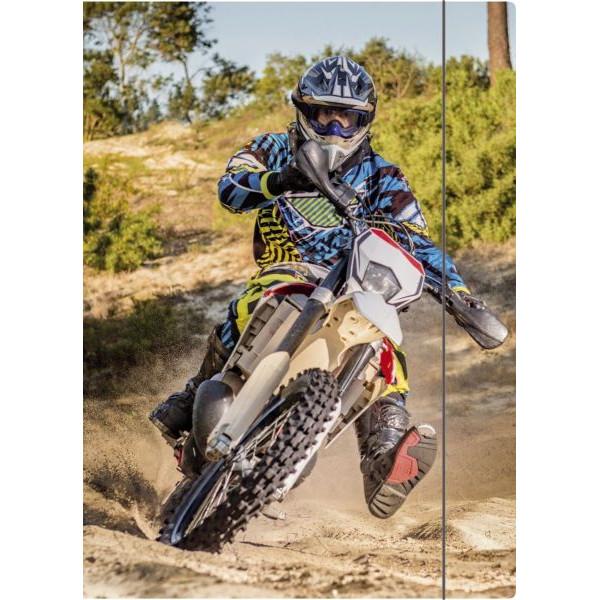 RNK Zeichenmappe Motocross - bis DIN A4, mit Gummizugverschluss