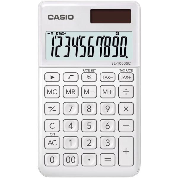Casio Taschenrechner SL-1000 Solar--Batteriebetrieb, 10stellig, LC-Display, weiß