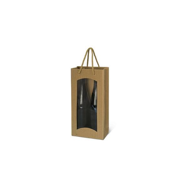 Geschenktragetasche für 2 Flaschen natur 17x8,6x36cm