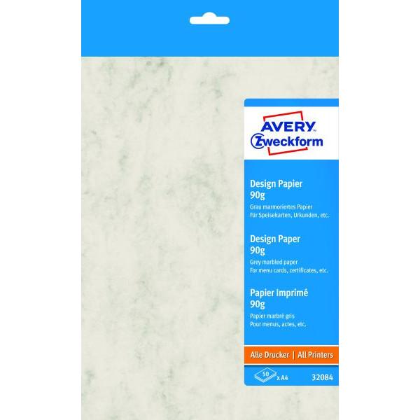 Zweckform Designpapier Motivpapier marmoriert hellgrau A4 90g 50 Blatt