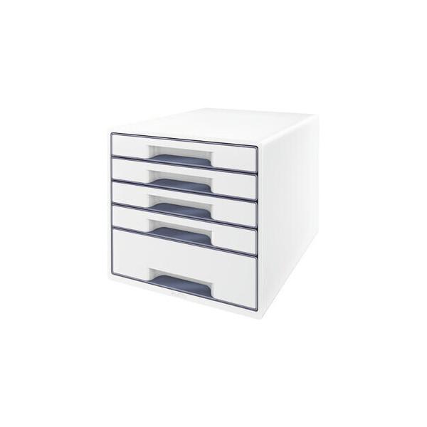 Leitz Schubladenbox Wow Cube 5214-20-01 perlweiß/grau 5 Schubladen geschlossen