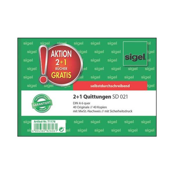 Sigel 2 + 1 Aktion Quittungen mit Sicherheitsdruck - A6 quer, 1. und 2. Blatt bedruckt, SD, MP, 2 x 40 Blatt