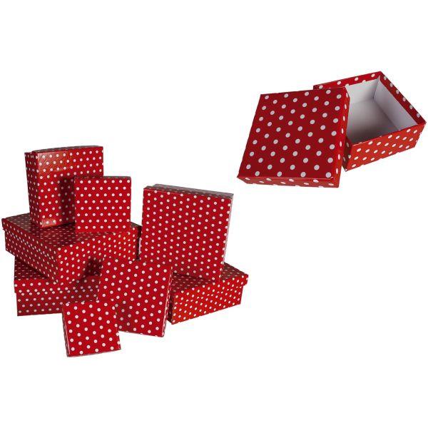 Geschenkkarton Punkte - 8 tlg., rot/weiß