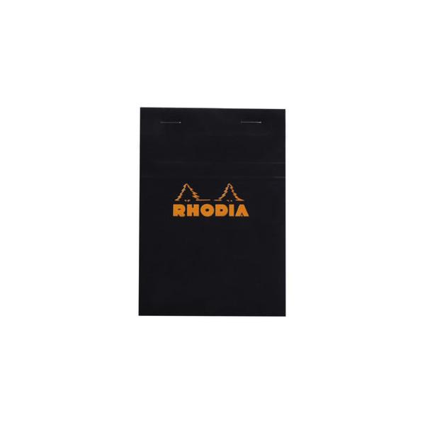 RHODIA Notizblock, schwarz, kariert, A6, 80 g/m², weiß, 80 Blatt