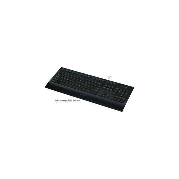 Logitech PC-Tastatur K280e 920-008669, mit Kabel (USB), flach, Sondertasten, schwarz