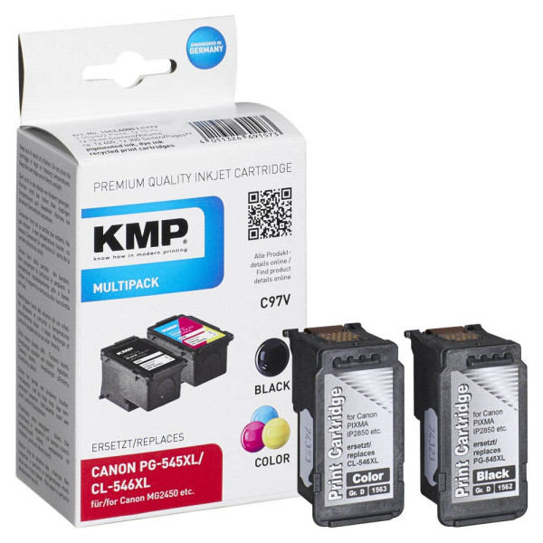 KMP KMP C97V schwarz, color Druckköpfe ersetzen Canon PG-545XL + CL-546XL