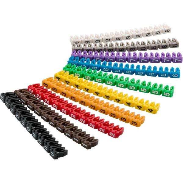 goobay 100 goobay Kabelclips Ziffern 0-9 farbsortiert