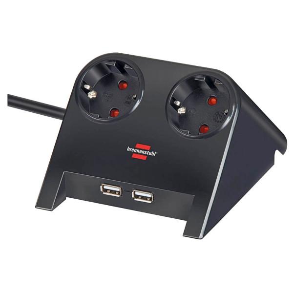 brennenstuhl Desktop-Power USB-Charger 2-fach Tischsteckdose schwarz
