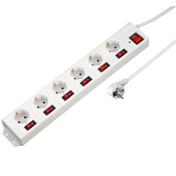 hama XL 6-fach Steckdosenleiste mit Überspannungsschutz weiß