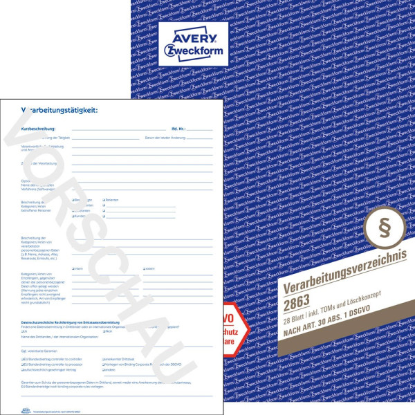 Zweckform Formularbuch 2863 Verarbeitungsverzeichnis