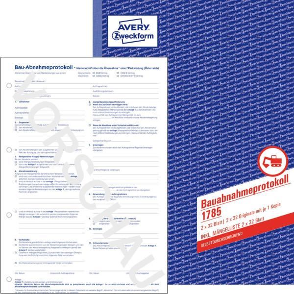 Zweckform Formularbuch 1785 Bauabnahmeprotokoll
