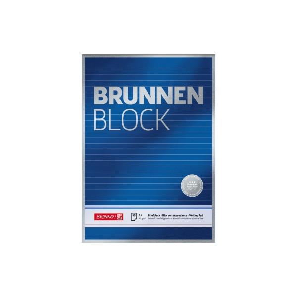 BRUNNEN Briefblock DIN A4 liniert 90g/m² blau weiß 50 Bl.
