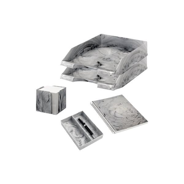Jalema Schreibtischset MARMOR LINE Kunststoff hellgrau Marmor