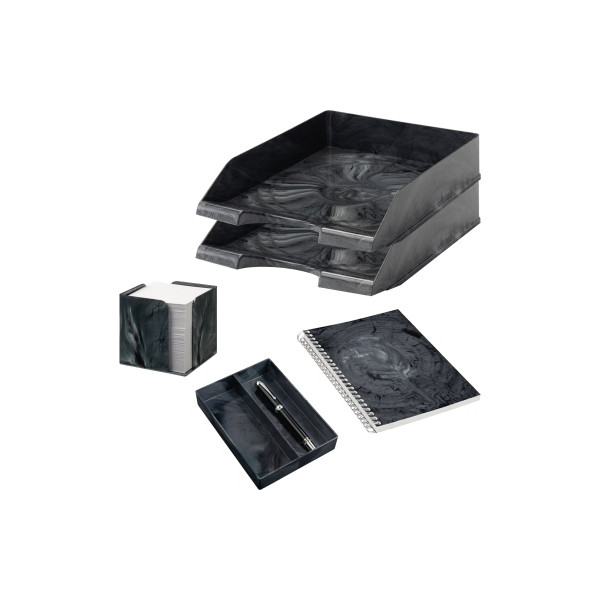 Jalema Schreibtischset MARMOR LINE Kunststoff anthrazit Marmor
