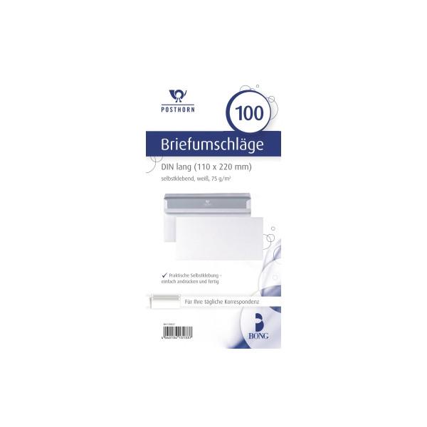POSTHORN Briefumschlag DIN lang 220 x 110 mm (B x H) ohne Fenster 75g/m² mit Selbstklebung Papier weiß 100 St./Pack.