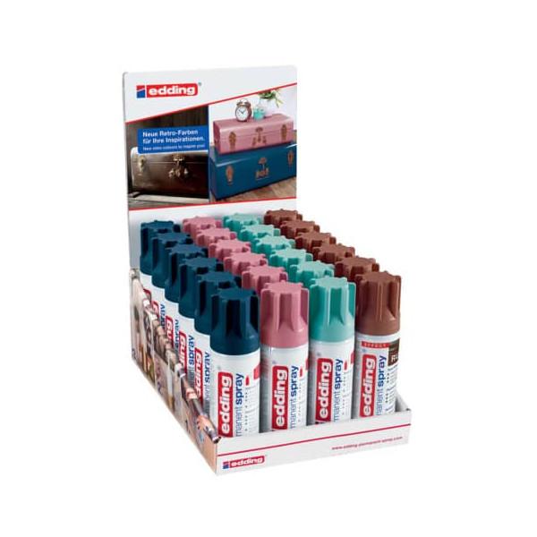 Edding Spraydosen 4-51555 Trendfarben 1 sortiert permanent 24 Dosen, edding 5200