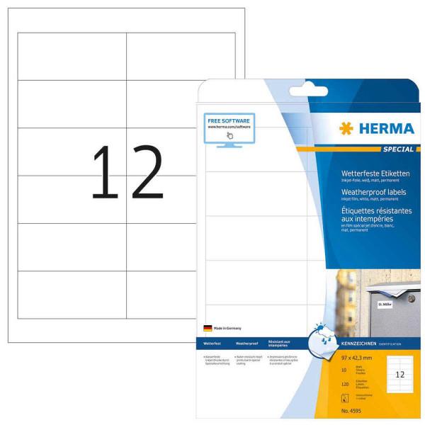 Herma wetterfeste Folienetiketten 4595 weiß 120 Stück