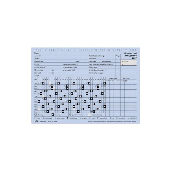 RNK Urlaubs- und Fehltagekarten 2900/21-10 A5-quer blau für 2021 10 Stück