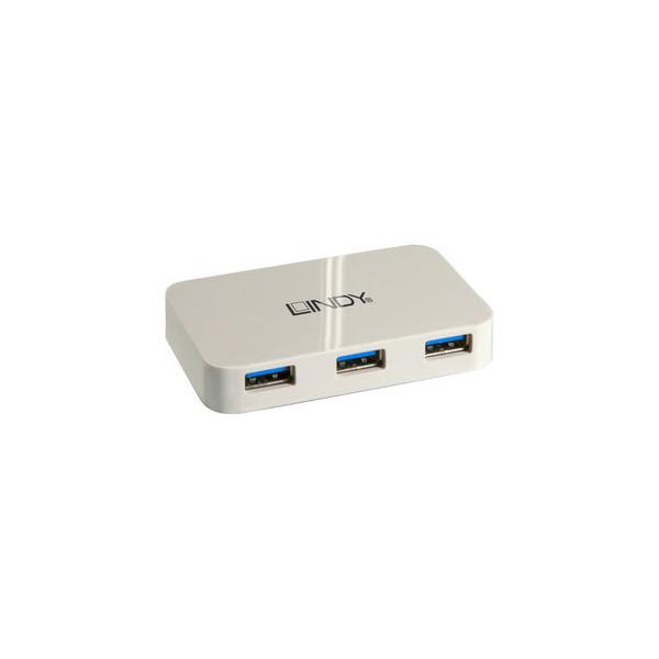 Lindy Hub, automatisch, USB 3.0, Geräteanschlüsse: 4 an 1, weiß