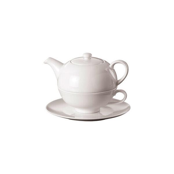 TEEKANNE Teekanne Tea for One, 3teilig, mit Tasse und Untertasse, 0,4 l, weiß